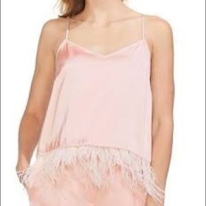 Vince Camuto Womens Satin Feather Camisole Top